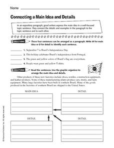 Connecting a Main Idea and Details Worksheet