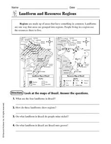 Landforms and Resource Regions Worksheet for 4th - 6th Grade ...