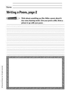 Writing a Poem, Page 2 Worksheet
