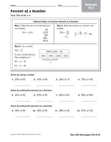 Percent of a Number - Reteach 19.5 Worksheet