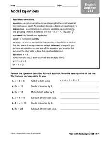 Model Equations: English Learners Worksheet