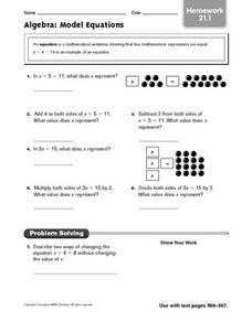 Algebra: Model Equations Worksheet