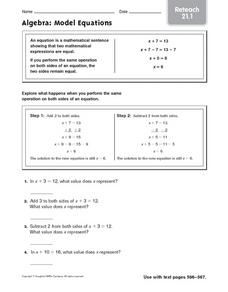 Reteach: Algebra: Model Equations Worksheet