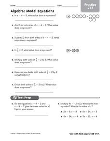 Practice: Algebra-Model Equations Worksheet