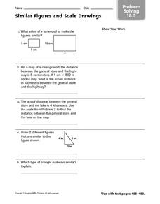 Problem Solving: Similar Figures and Scale Drawing Worksheet for 4th ...