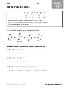 English Learners: Use Addition Properties Worksheet