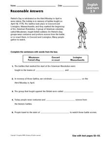 Reasonable Answers (Patriot's Day) Worksheet