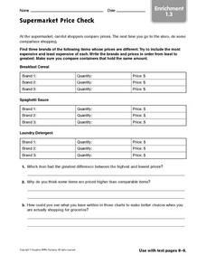 Supermarket Price Check - Enrichment 1.3 Worksheet