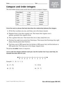 Compare and Order Integers: ELL Worksheet