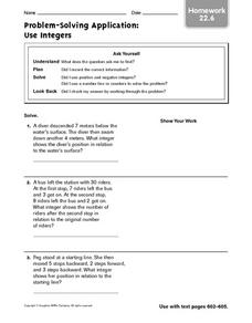 Problem-Solving Application: Use Integers: Homework Worksheet