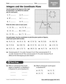Integers and the Coordinate Plane - Practice 23.1 Worksheet