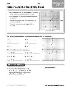 Integers and the Coordinate Plane - Homework 23.1 Worksheet