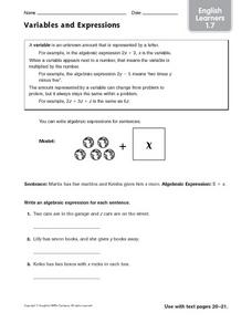 Variables and Expressions: English Learners Worksheet