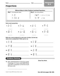 Proportions: Homework Worksheet