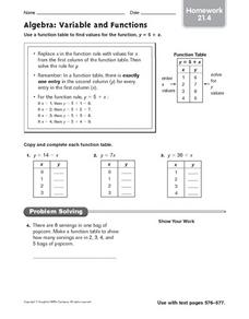 Algebra: Variable and Functions (Homework 21.4) Worksheet