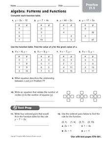 algebra patterns and functions practice worksheet for 6th 7th grade lesson planet. Black Bedroom Furniture Sets. Home Design Ideas