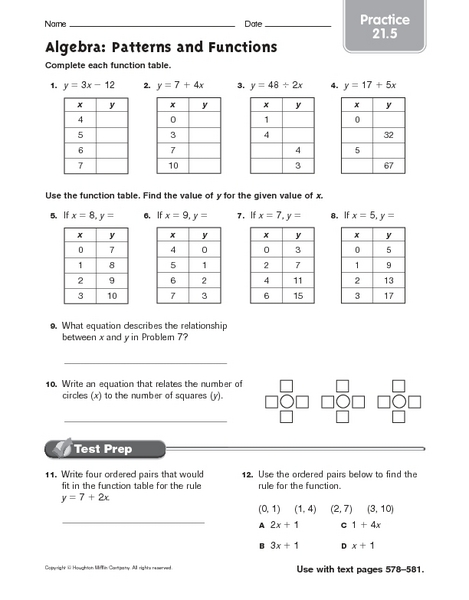 Function table worksheets 6th grade
