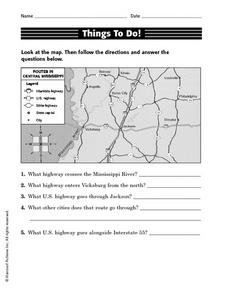 Things To Do! Route Map Activity Worksheet