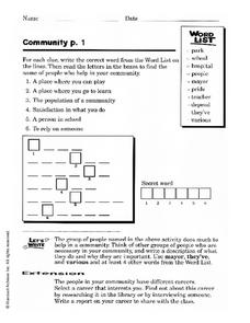 Community Activities Worksheet