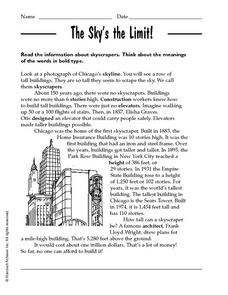 Skyscrapers: The Sky's The Limit! Worksheet