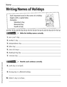 Writing Names of Holidays Worksheet