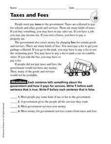Taxes and Fees Worksheet