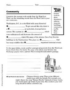 Community: Washington D.C. Worksheet