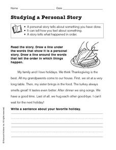 Studying a Personal Story Worksheet
