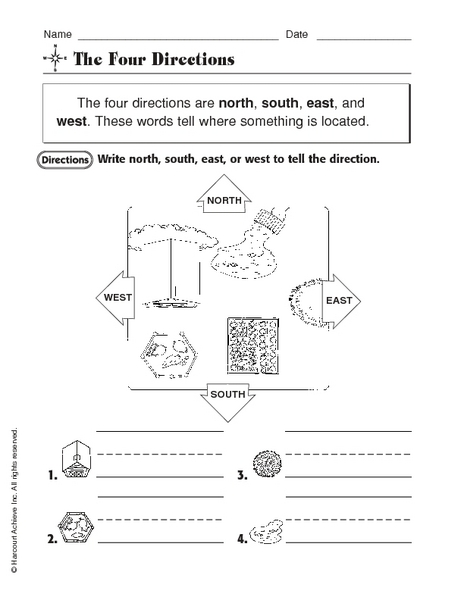 the four directions worksheet for kindergarten 2nd grade lesson planet. Black Bedroom Furniture Sets. Home Design Ideas