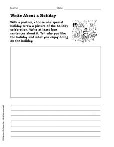 Write About a Holiday Worksheet