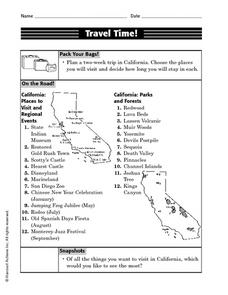 Travel Time! (California) Worksheet