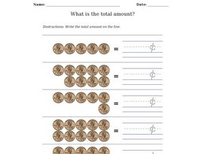 What Is the Total Amount? Pennies Worksheet