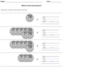 What is the Total Amount? Half-Dollars Worksheet