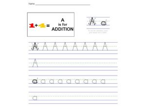 A is for Addition Worksheet