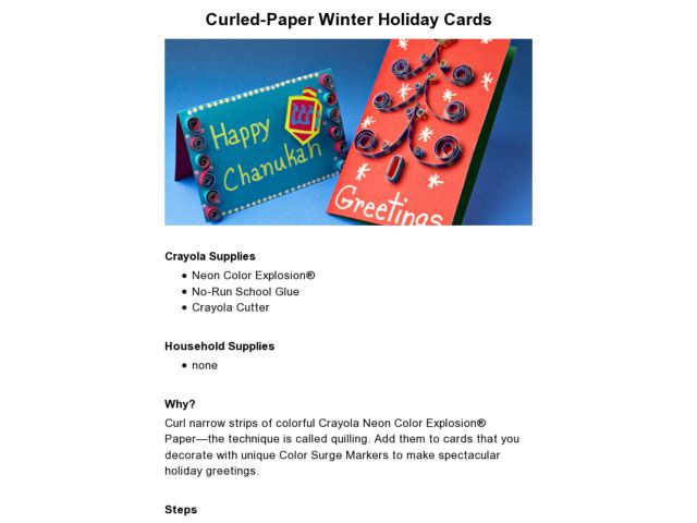 Curled-Paper Winter Holiday Cards Lesson Plan
