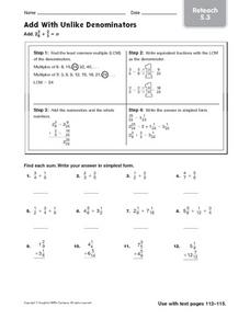 Add With Unlike Denominators - Reteach 5.3 Worksheet