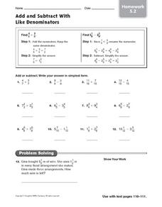 Add and Subtract With Like Denominators - Homework 5.2 Worksheet