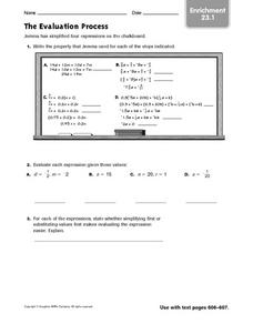 The Evaluation Process Worksheet