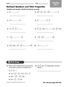 Rational Numbers and Their Properties - Practice 22.3 Worksheet
