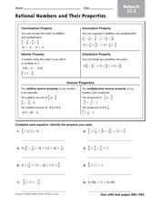 Rational Numbers and Their Properties - Reteach 22.3 Worksheet