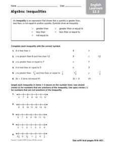 Algebra: Inequalities ESL Worksheet
