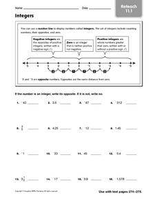 Integers - Reteach 11.1 Worksheet