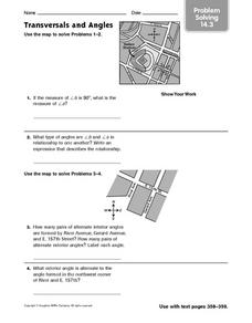 Transversals and Angles - Problem Solving 14.3 Worksheet
