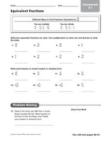 Equivalent Fractions - Homework 4.1 Worksheet