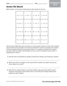 Across the Board - Enrichment 12.2 Worksheet