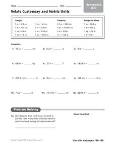 Relate Customary and Metric Units - Homework 8.5 Worksheet