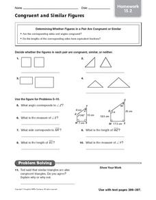 Congruent and Similar Figures - Homework 15.2 Worksheet