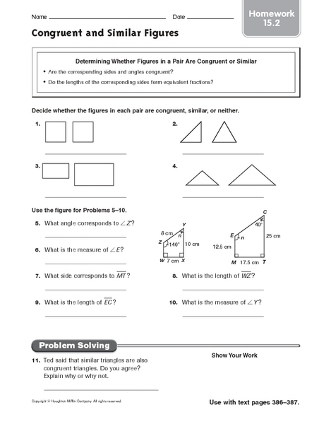 Congruent Angles And Figures Lesson Plans Worksheets