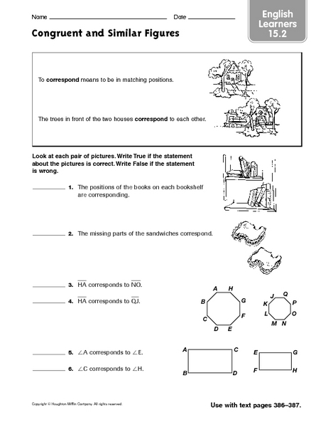 Congruent And Similar Figures El 15 2 Worksheet For 4th