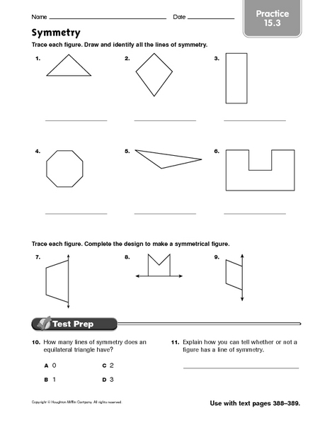 Symmetry Practice 15 3 Worksheet For 5th 9th Grade Lesson Planet
